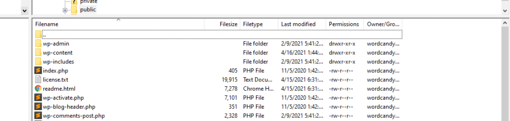 wordpress backup root directory